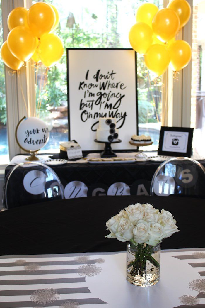 Black White Gold Graduation Party Party