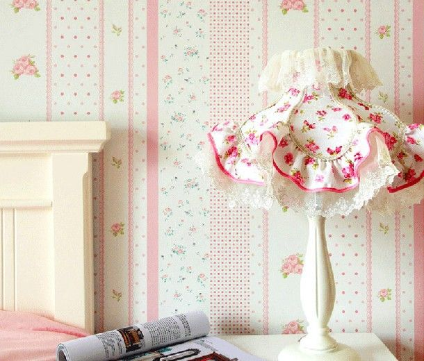 Modern stripe kids room floral wallpaper girls room mural for Cheap white wallpaper