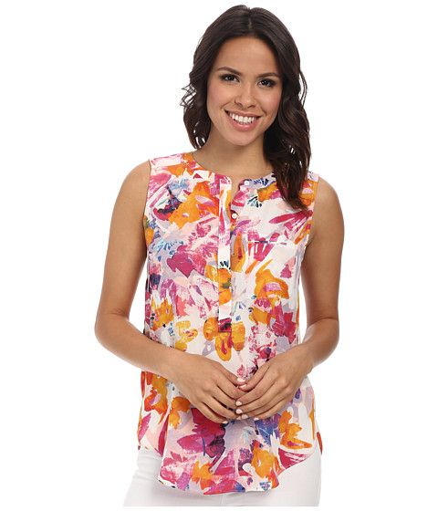 NYDJ Sleeveless Georgette Blouse w/ Pleated Back Tropical Floral - Zappos.com Free Shipping BOTH Ways