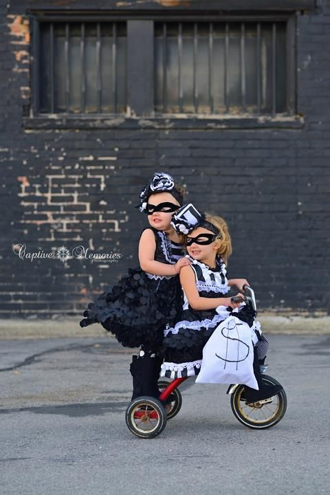 Bank robbers sibling Halloween costume -- Too cute!