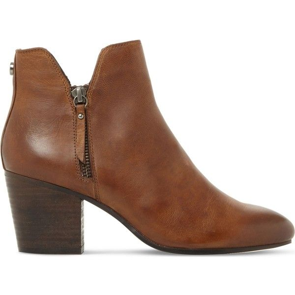 New Steve Madden Tan Leather Winner Leather Ankle Boots for Women Sale