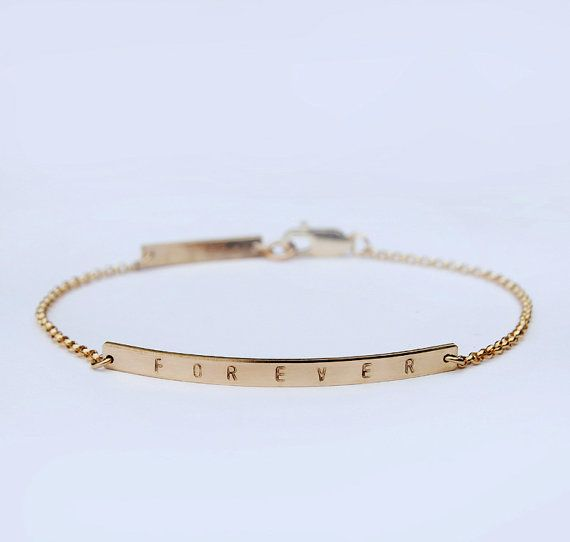 Forever Skinny Bar Bracelet With Personalized Initial Slim Gold Wedding Bridal