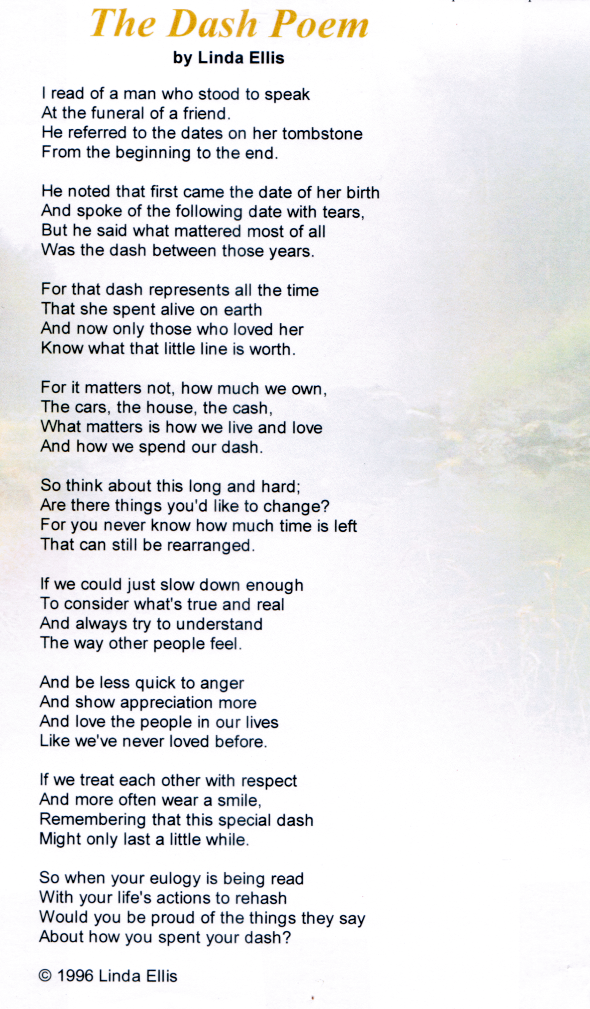 photograph about The Dash Poem Printable Free known as It was the exchange Religion Funeral poems, Poems, Poem estimates