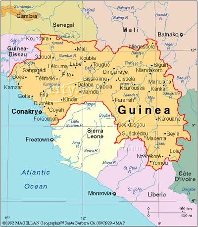 Map of Guinea West Africa Guinea Conakry Pinterest West
