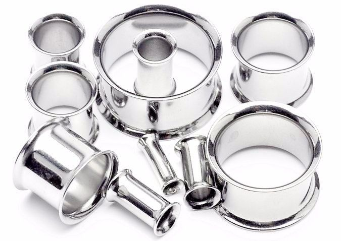 Pair Steel Silver Double Flare Flesh Tunnel Ear Plugs Flared Earlets Gauges New