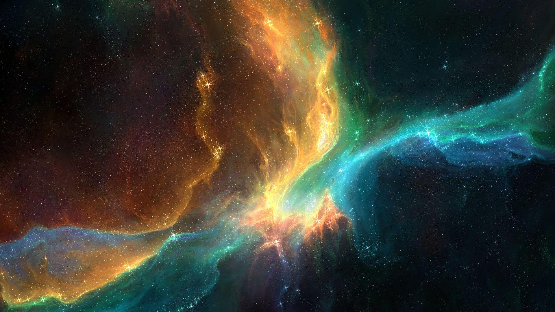 Amber Amp Turquoise Nebula 1920x1080 Nebula Wallpaper Wallpaper Space Outer Space Wallpaper