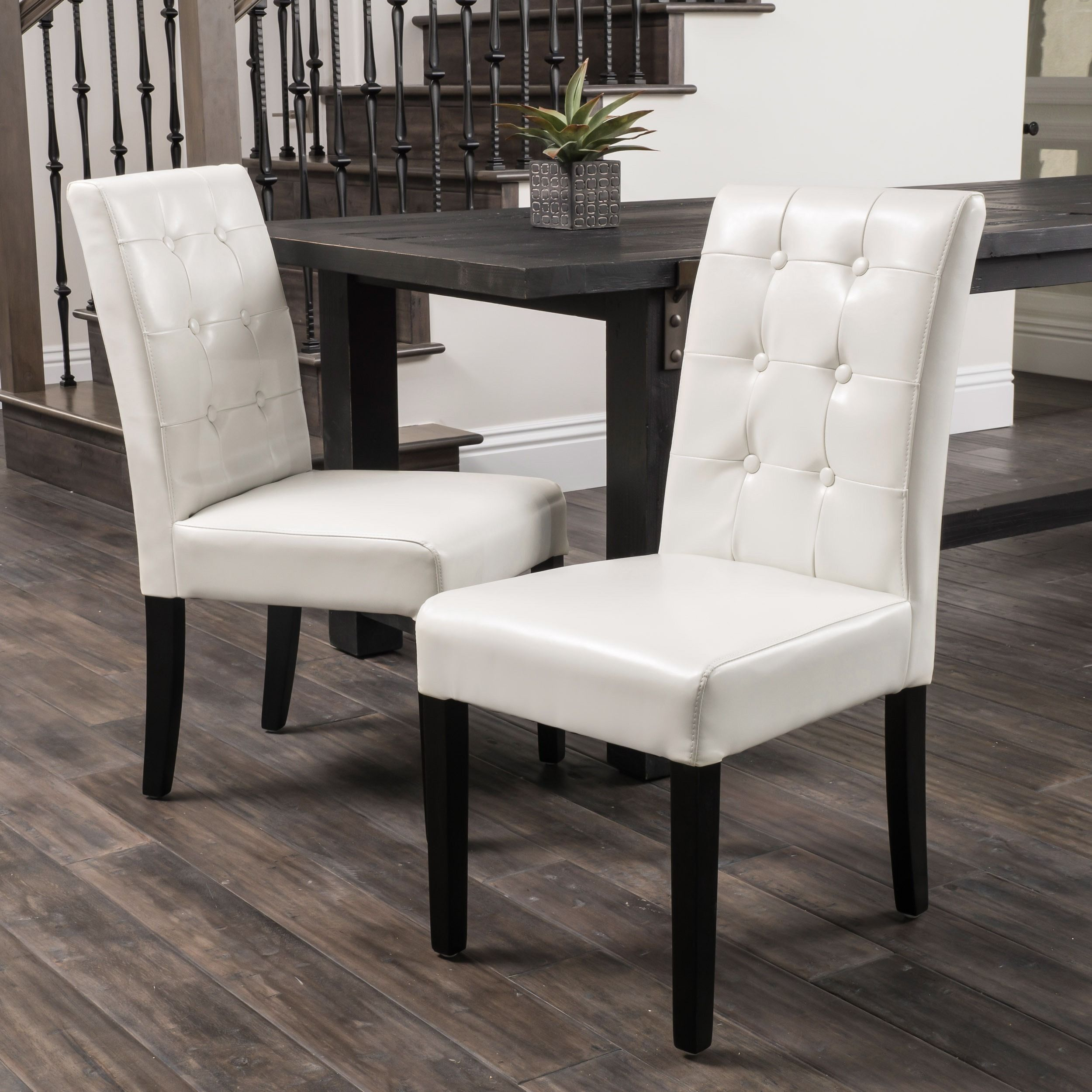 Roland Ivory Leather Dining Chairs By Christopher Knight Home Set