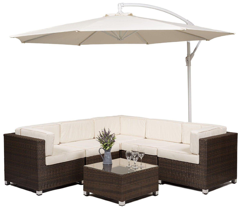 Savannah Rattan Garden Furniture Corner Sofa Set with Glass top