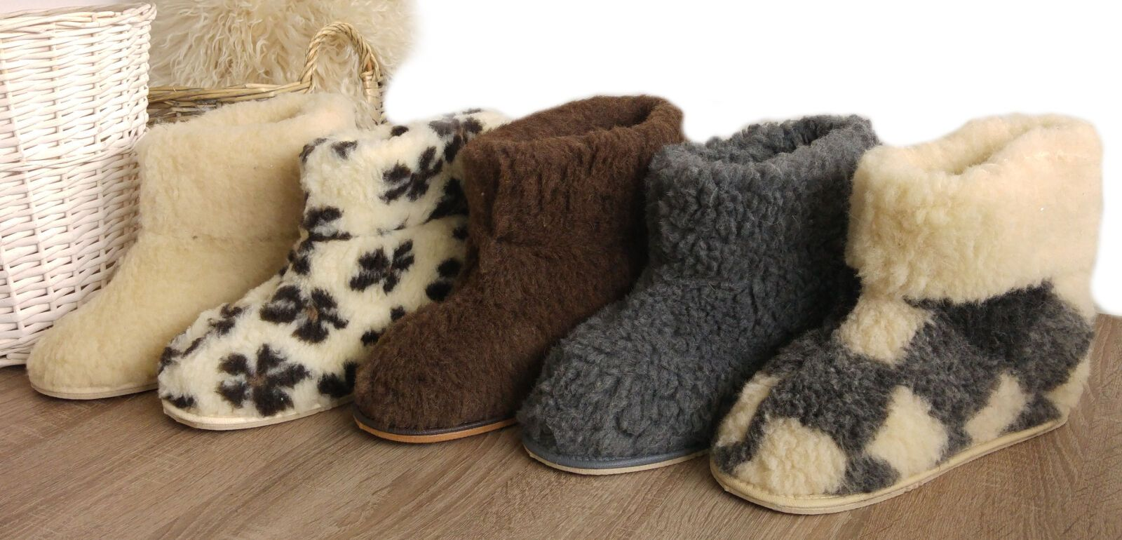 Wool Mens Grey Genuine Sheepskin Slippers Boots 100/% Pure