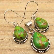 Matching Earrings and Pendant Jewelry SET, GREEN COPPER TURQUOISE Silver Plated