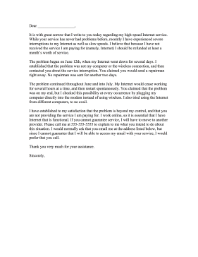 Complaint Letters To Companies Entrancing This Complaint Letter Warns Internet Providers That The Customer Wi .