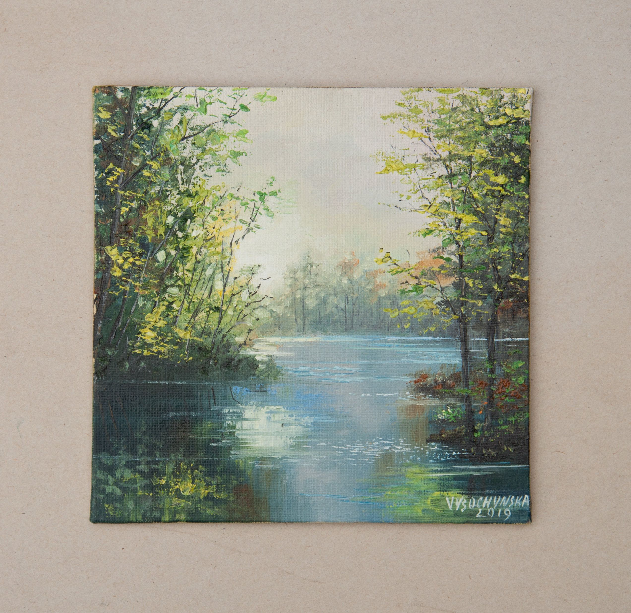 Summer Landscape Oil Painting Original Small Painting Lake Miniature Green Wood Forest Trees Water Nature Tiny Atr Oil Painting Landscape Painting Oil Painting