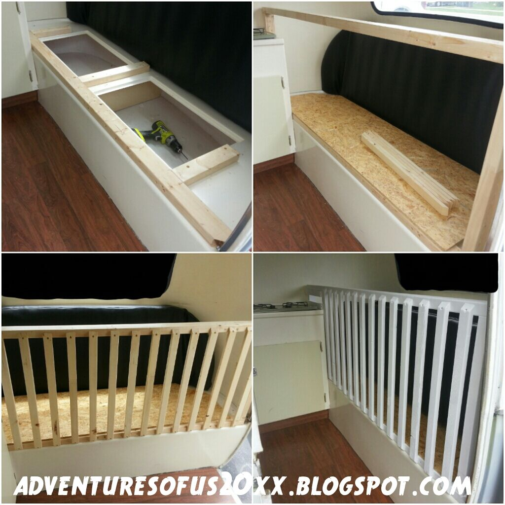 Crib modification for pop up camper renovation and stuff