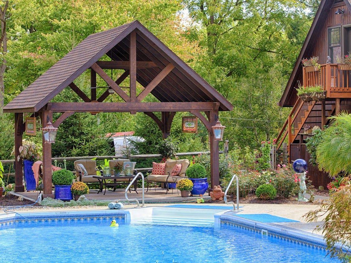 Alpine style cedar pavilion backyardunlimited