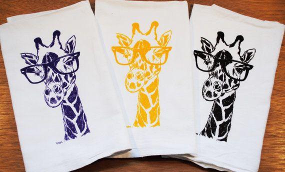 Set Of 3 Tea Towels Giraffe With Rayban Glasses I Create