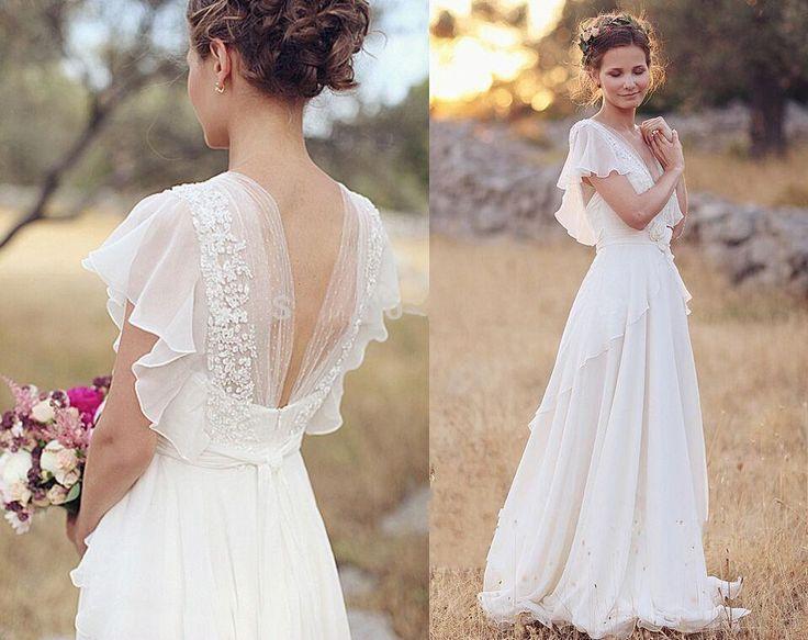 2016 Country Bohemia A Line Wedding Dresses V Neck Short Sleeves Chiffon Summer Beach Gowns Floor Length Boho Custom Bridal Dress