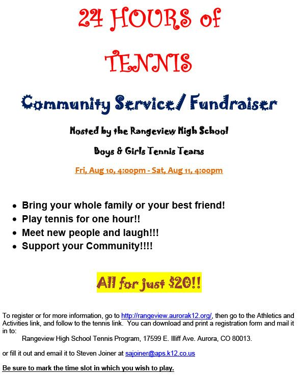 Hours Of Tennis Fundraiser Hosted By The Rangeview High School