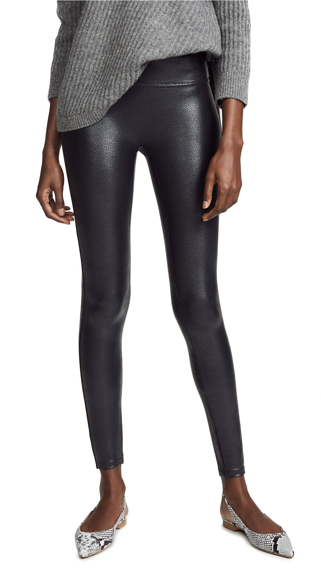 fdeed667d1c68 Faux Leather Pebbled Leggings by SPANX in Pebble Grey | LUX Woman ...