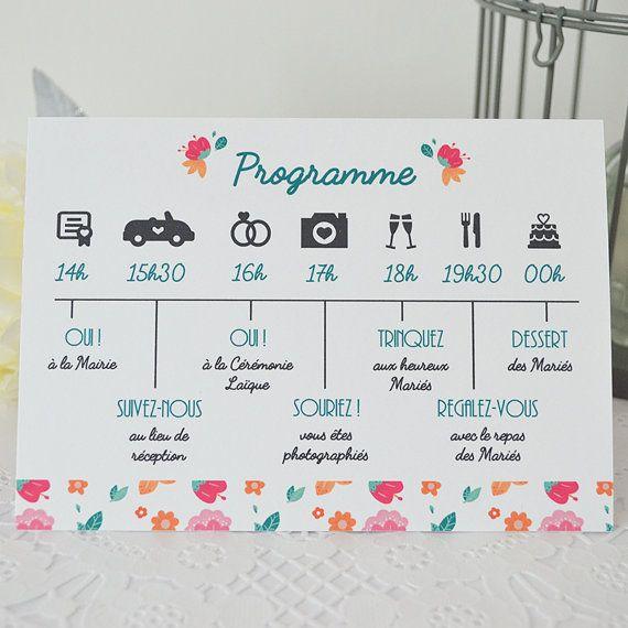Super PROGRAMME MARIAGE recto/ verso avec motif floral Programme  OE41