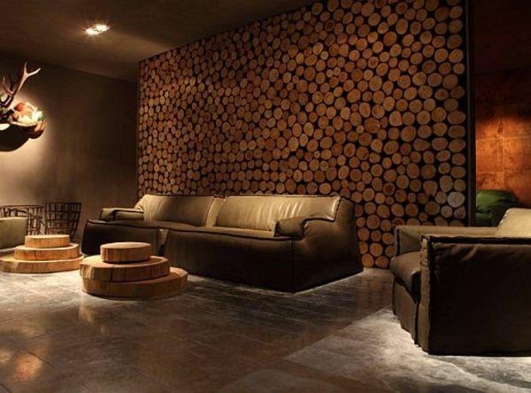 Wohnzimmerwand holz ~ Wohnwand aus holz rustikale gestaltung wohnwand pinterest