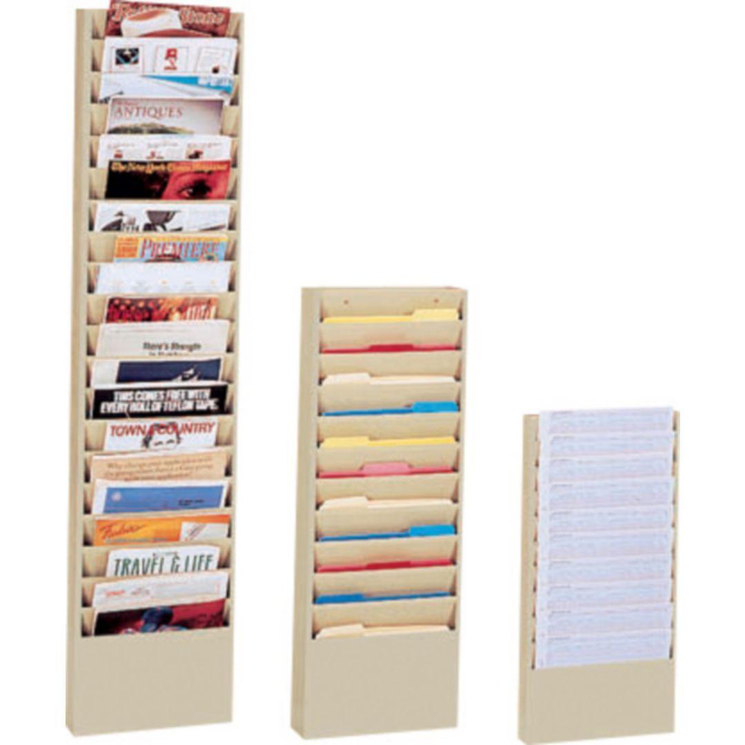 Durham Wide-Pocket Vertical Literature Racks, 20 Pocket, Black | Quill.com - ?? WAITING ROOM MAGAZINE RACK - ?? $219.99