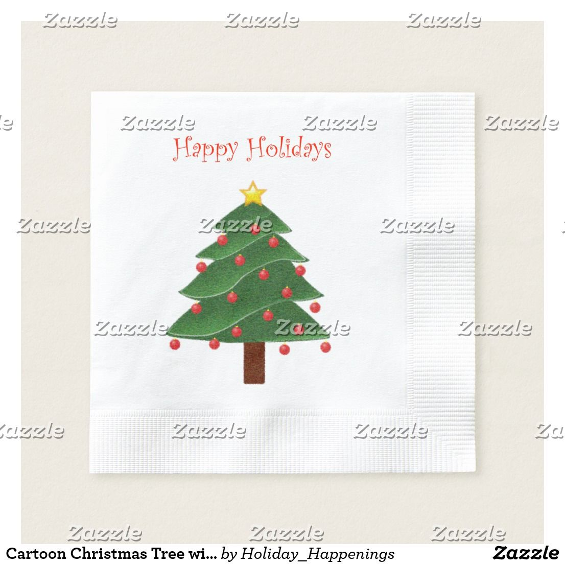 Cartoon Christmas Tree With Ornaments Drawing Paper Napkins Zazzle Com Cartoon Christmas Tree Ornament Drawing Red Ornaments