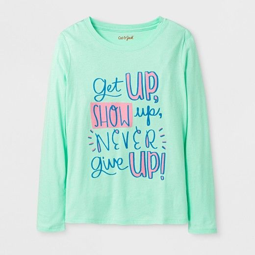 e23f3d664855 Girls' Long Sleeve Never Give Up Graphic T-Shirt - Cat & Jack™ Green :  Target