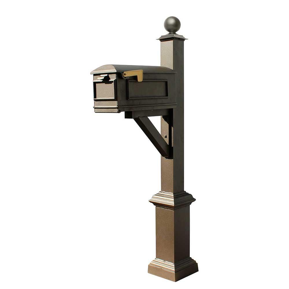 Qual Arc Westhaven Bronze Post Mounted Non Locking Cast Aluminum Mailbox System Mounted Mailbox Traditional