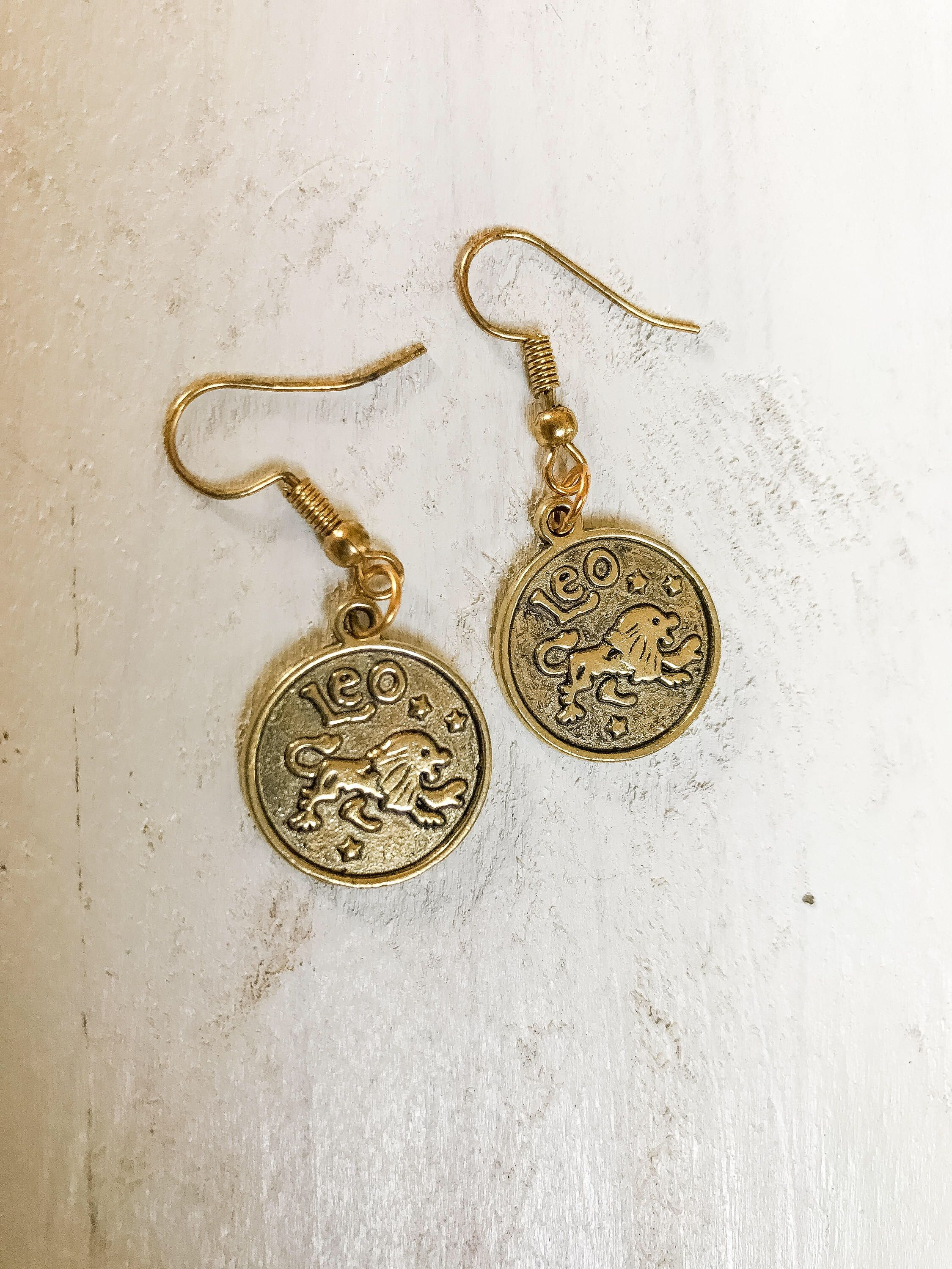 Leo Reversible Zodiac Charm Earrings Sign Symbol
