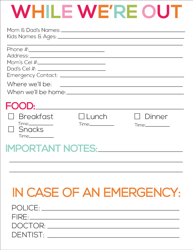printable babysitter notes free printables pinterest