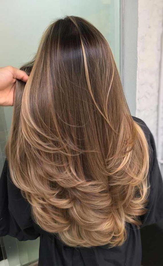 braune Haarfarbe, braune Haarfarbe, Balayage-Haar blond ...