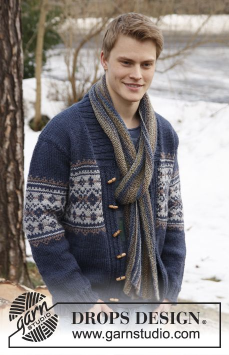 "Knitted DROPS men\'s jacket with pattern and shawl collar in ""Alaska ..."