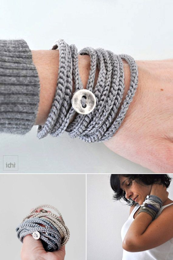 Crochet wrap Bracelet and Necklace in one piece. Wrapped bracelet ...
