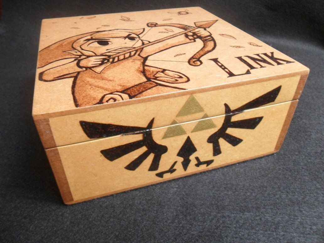 Cool Wood Burning Designs Wood Box Toon Link