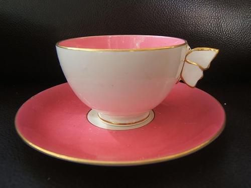 butterfly handle cup and saucer   c.1840-c.1900