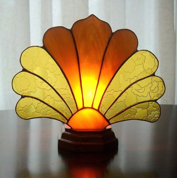 Art Deco Stained Glass Fan Lamp by windflower on Etsy, $47.00