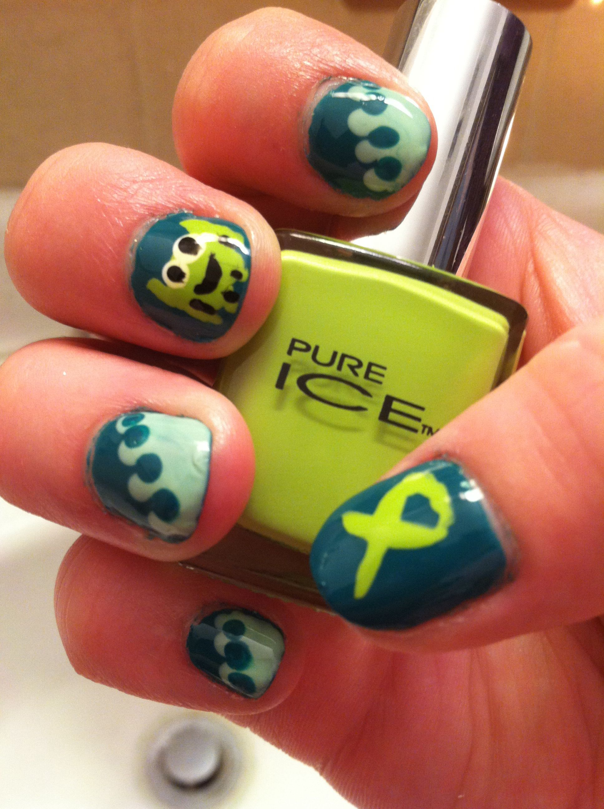 Green mani i did for depression/anxiety awareness. | Nail Art ...