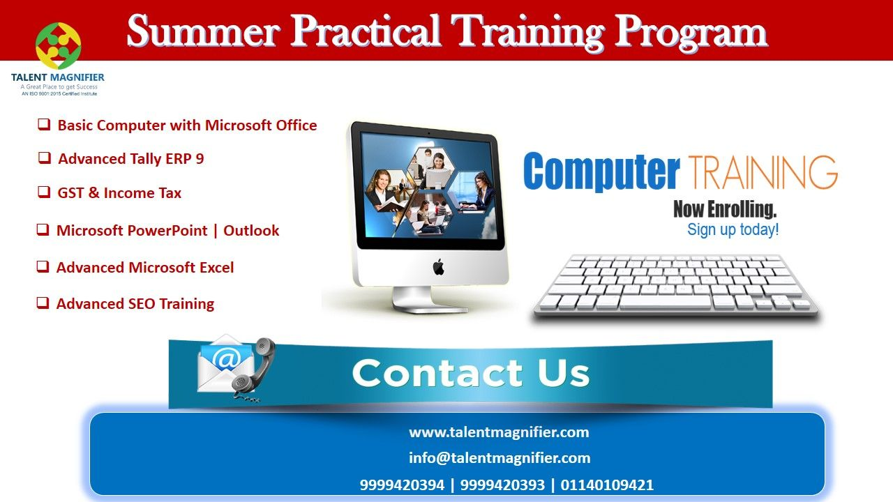 Get The Most Effective And Trustworthy Live Practical Industrial Summer Training In Basic Computer Wih Ms Office Seo Training Computer Skills Training Courses