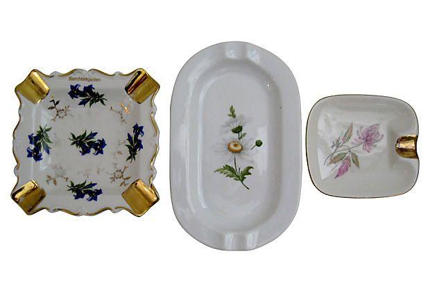 Floral Porcelain Ashtrays, Set of 3 on OneKingsLane.com