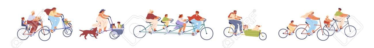 Set of children with parents on bicycles vector illustration. Collection of different active familie