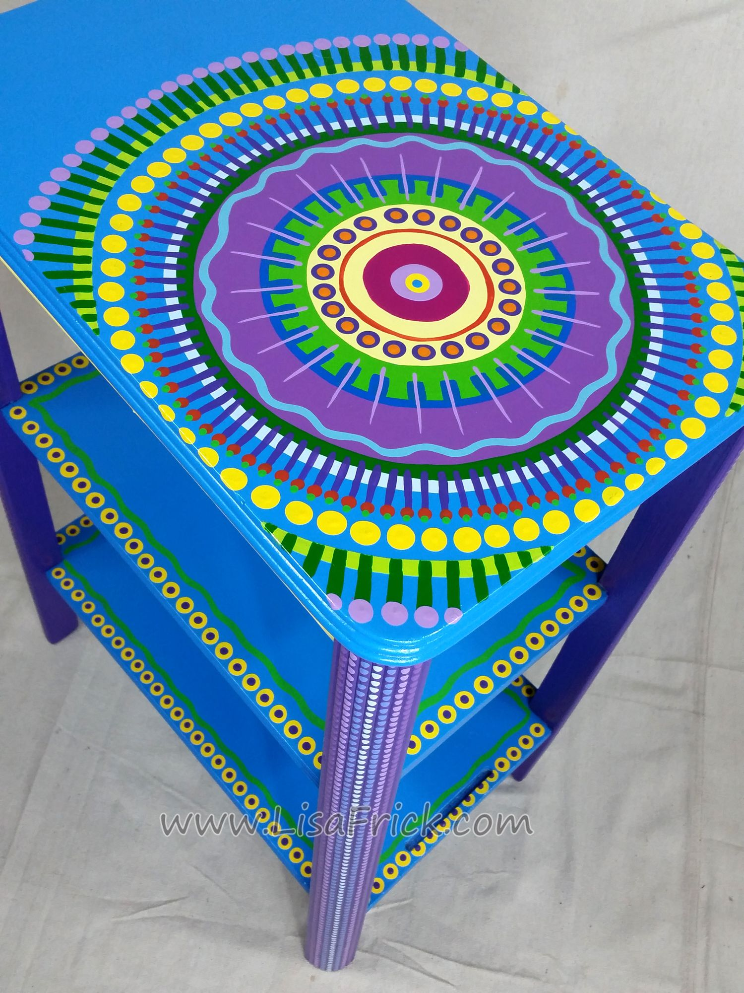 Blue Mandala up-cycled side table by Lisa Frick