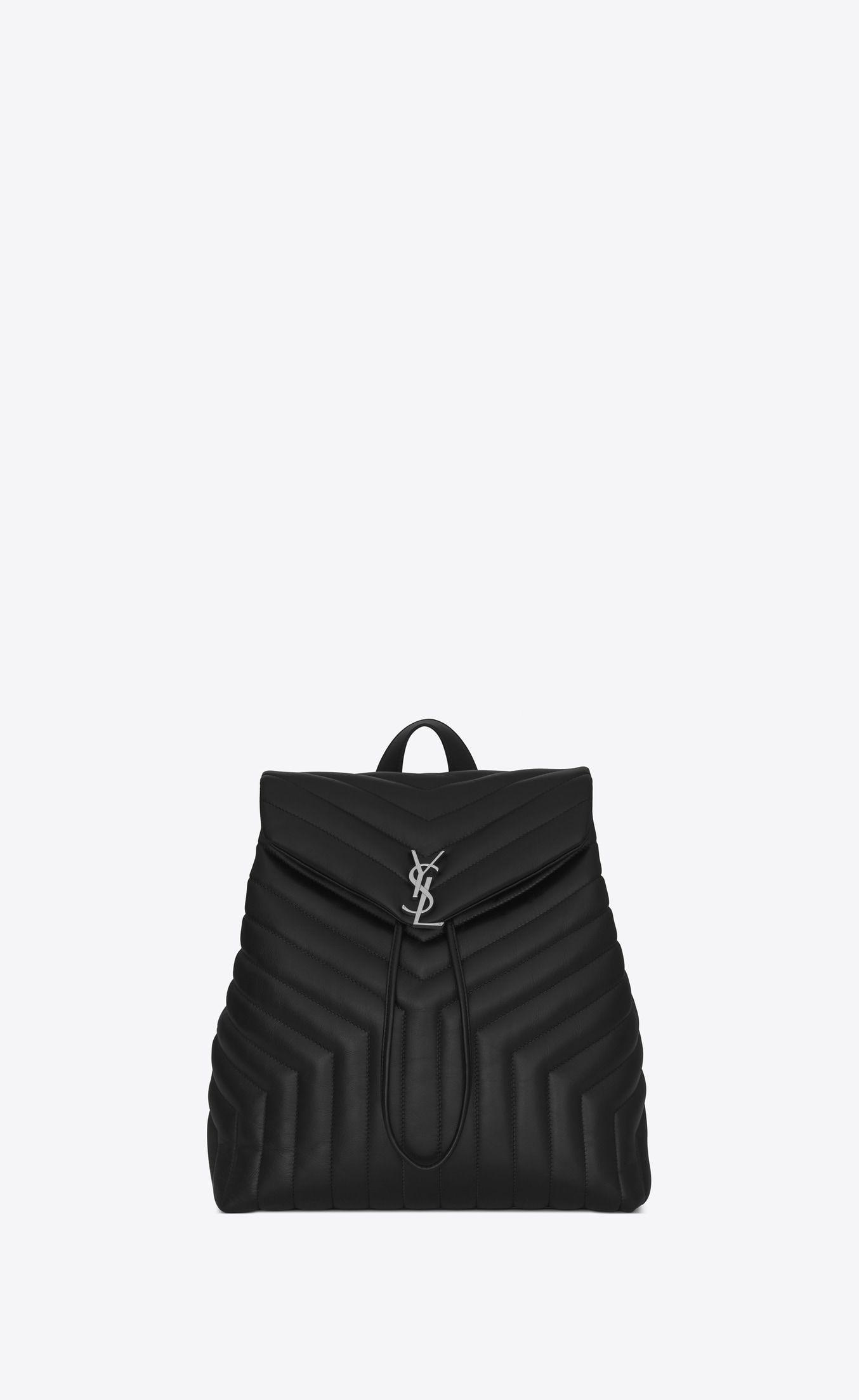Saint Laurent Medium Loulou Monogram Backpack In Black