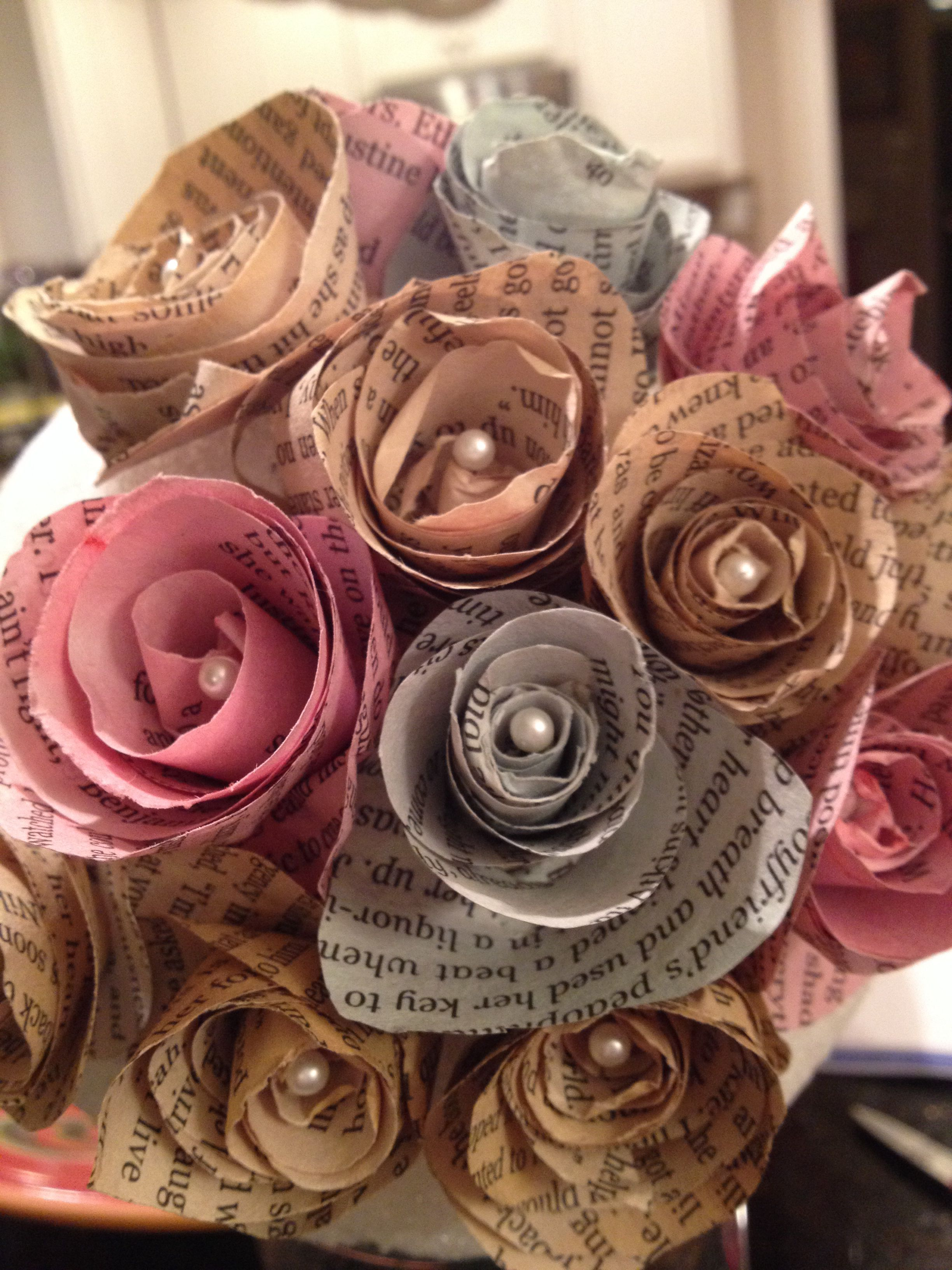 Paper Flowers Out Of Book Pages I Dyed The Pages With Coffee And