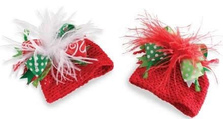 Mud Pie Christmas Holiday Crochet Ostrich Christmas Hat One Size Fit Most NWT