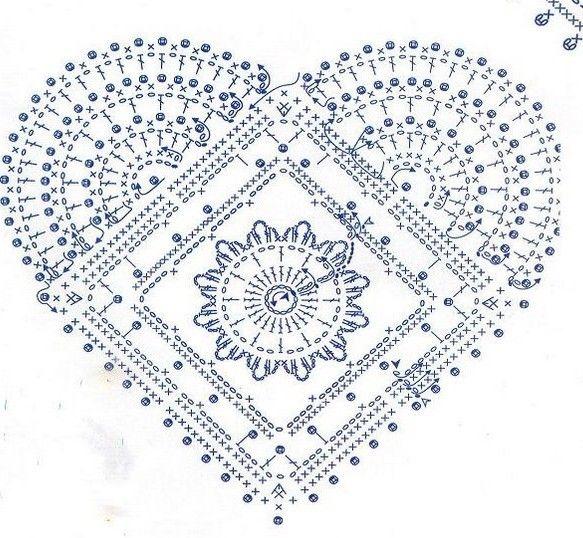 heart, free pattern | Crochet motif | Pinterest | Corazones de ...