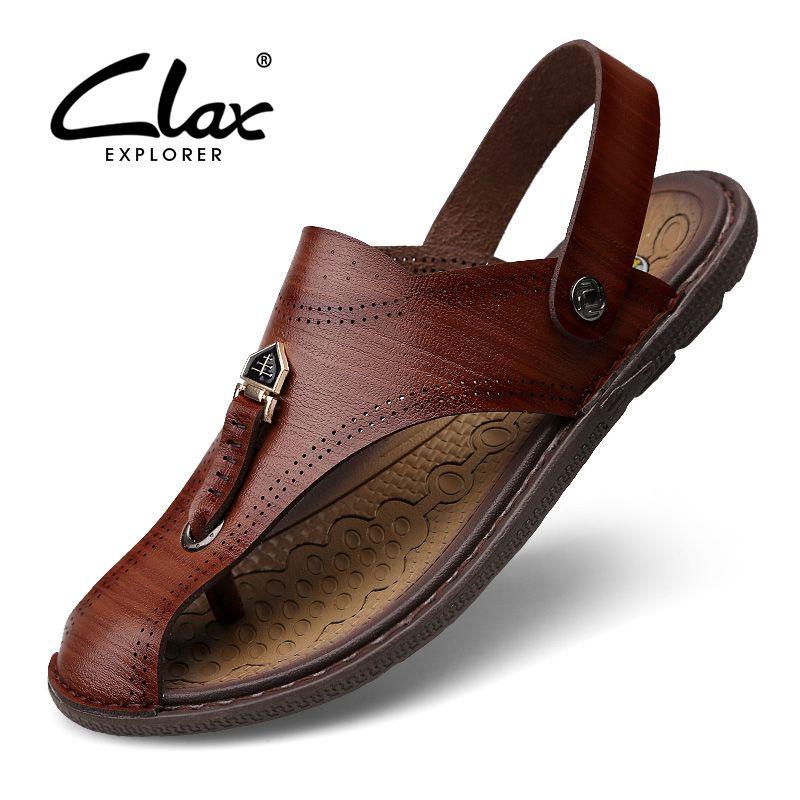 Mens Sandali Originale Leather Soft Sole Casual Toe Traspirante Cooler Shoes