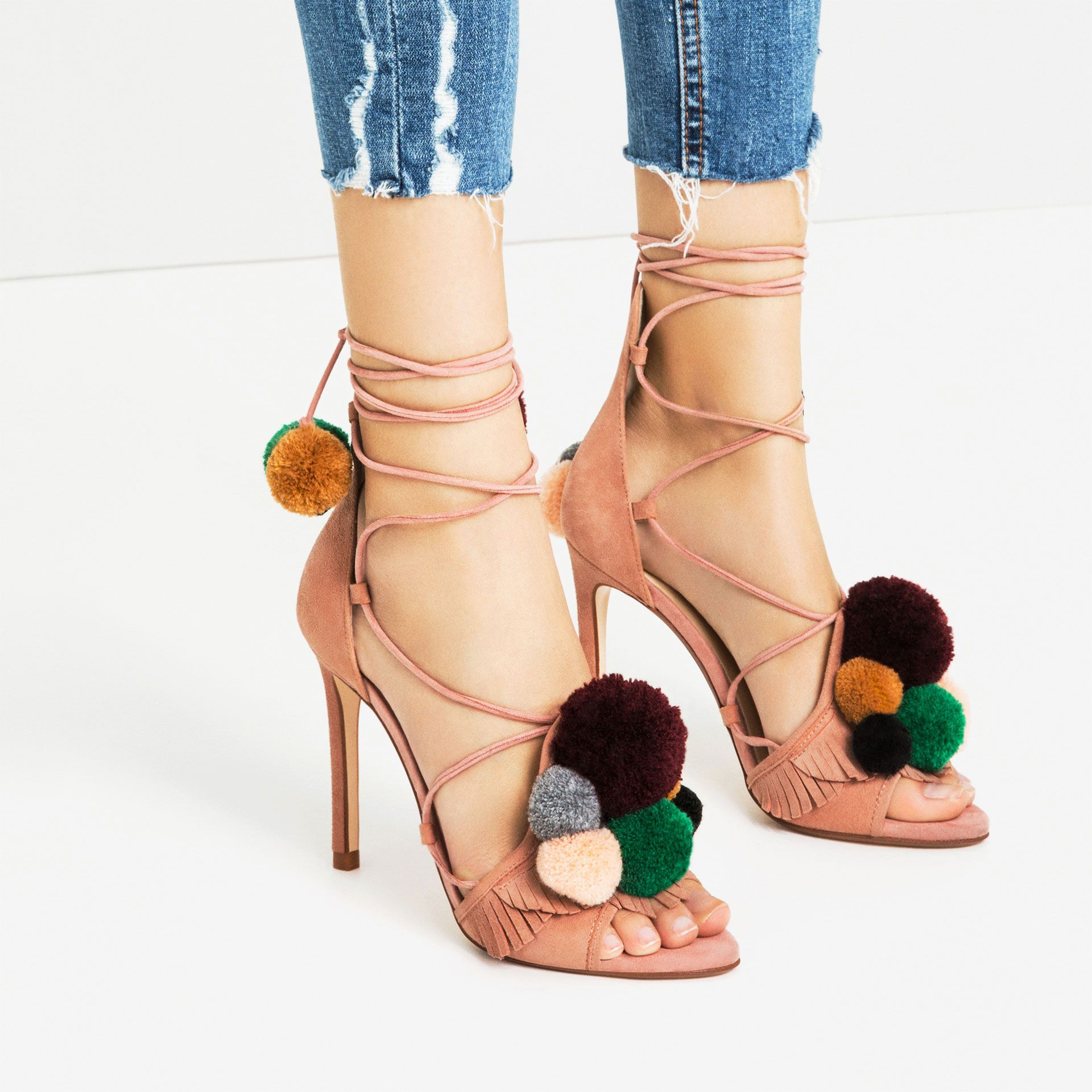 166142e2d9 LEATHER HIGH HEEL SANDALS WITH POMPOMS ZARA | Shoe Nation | Zara ...