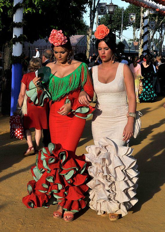 Seville Fashion: Flamenco Fashion At Spring Fair In Seville, Spain. Www