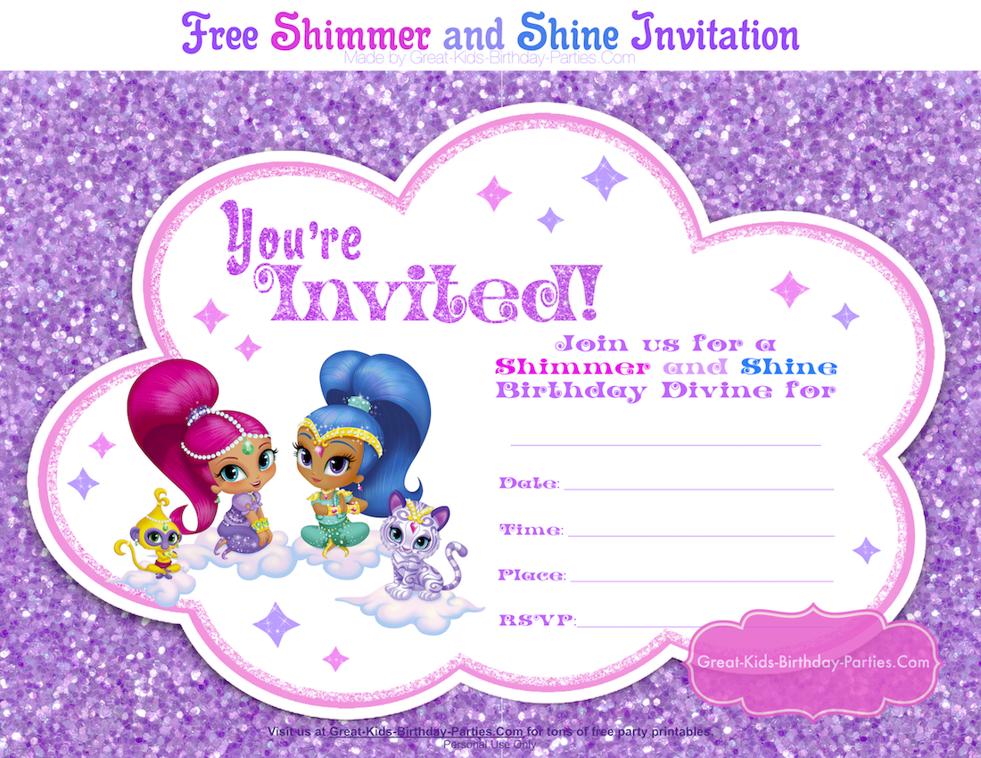 Shimmer And Shine Party Party Invite Template Birthday Invitation Card Template Printable Birthday Invitations