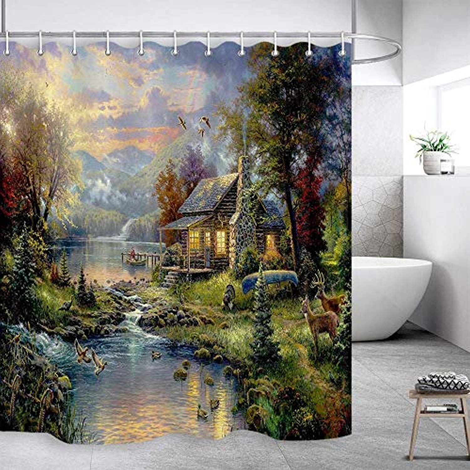 Dynh Fairytale Forest Landscape Shower Curtain Mountain Jungle